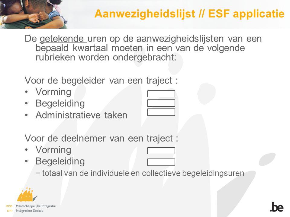 Aanwezigheidslijst // ESF applicatie