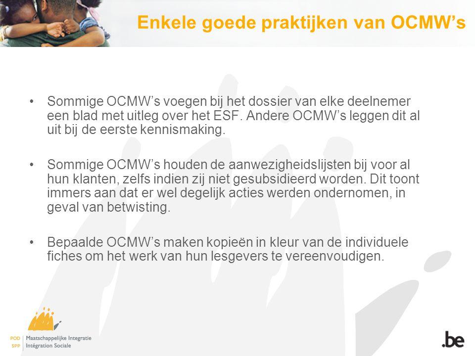 Enkele goede praktijken van OCMW's