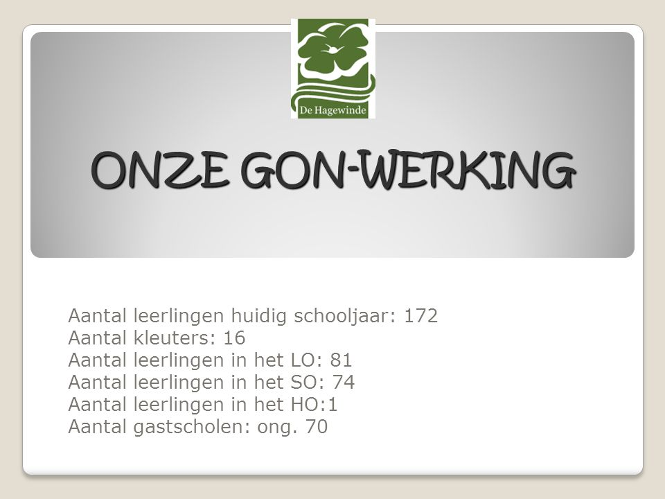 ONZE GON-WERKING Aantal leerlingen huidig schooljaar: 172