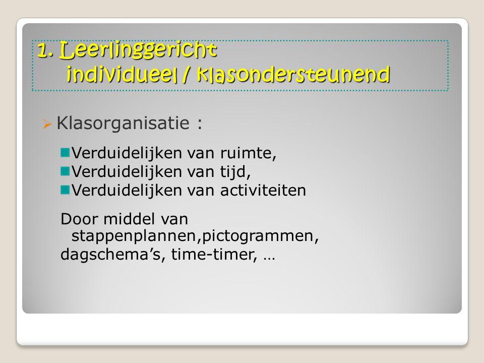 1. Leerlinggericht individueel / klasondersteunend