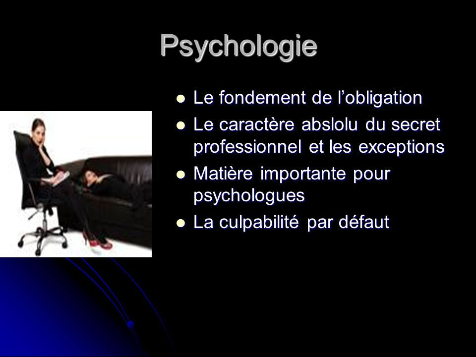 Psychologie Le fondement de l'obligation