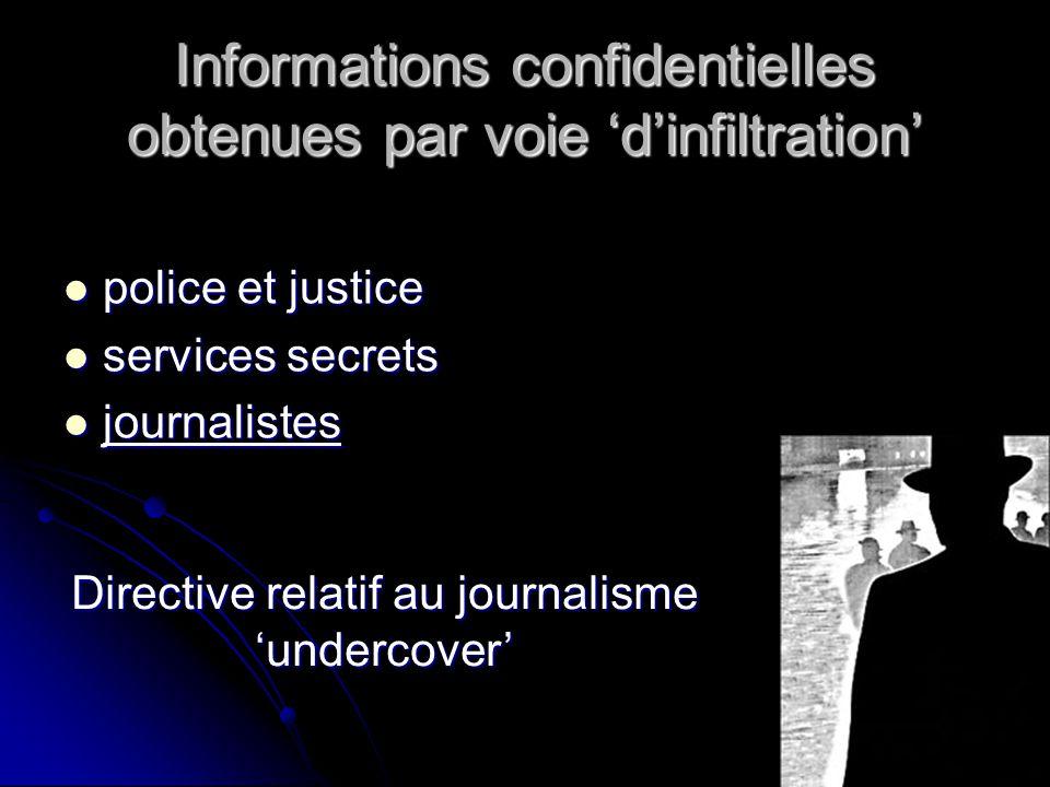 Informations confidentielles obtenues par voie 'd'infiltration'