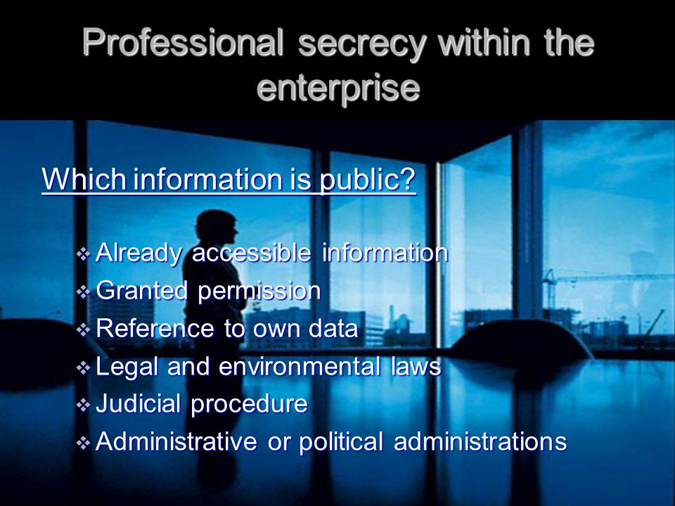 Professional secrecy within the enterprise