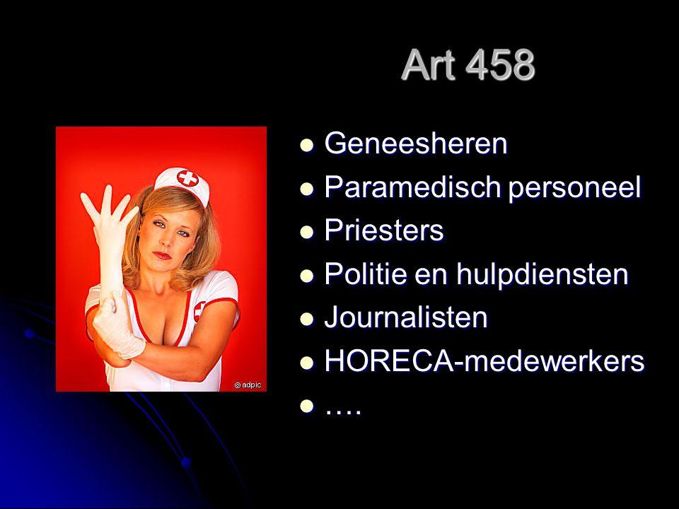 Art 458 Geneesheren Paramedisch personeel Priesters