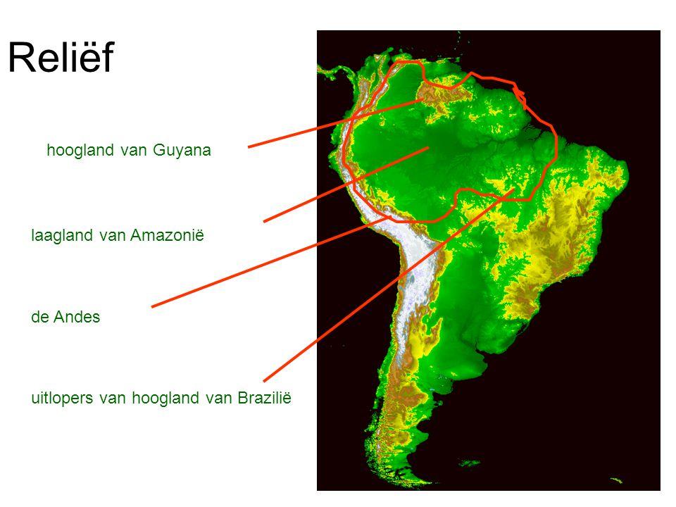 Reliëf hoogland van Guyana laagland van Amazonië de Andes