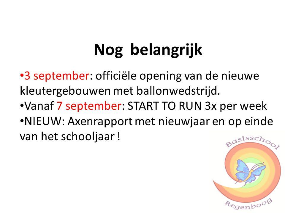 Nog belangrijk 3 september: officiële opening van de nieuwe kleutergebouwen met ballonwedstrijd. Vanaf 7 september: START TO RUN 3x per week.