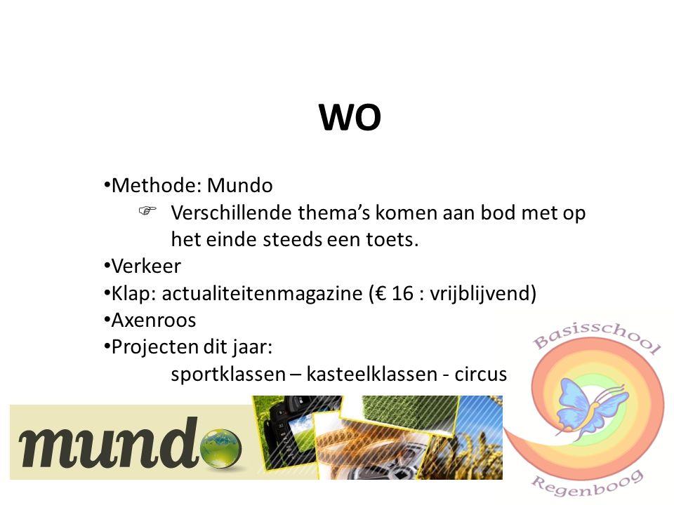 WO Methode: Mundo.  Verschillende thema's komen aan bod met op het einde steeds een toets. Verkeer.