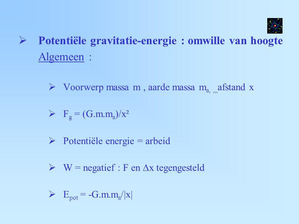 Potentiële gravitatie-energie : omwille van hoogte Algemeen :