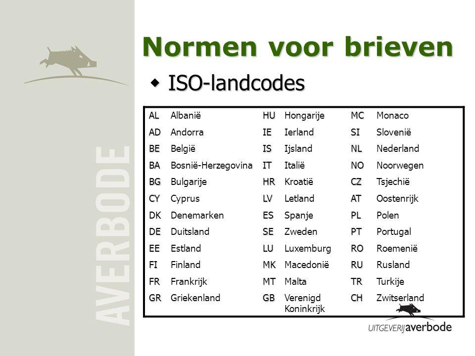 Normen voor brieven ISO-landcodes AL Albanië HU Hongarije MC Monaco AD