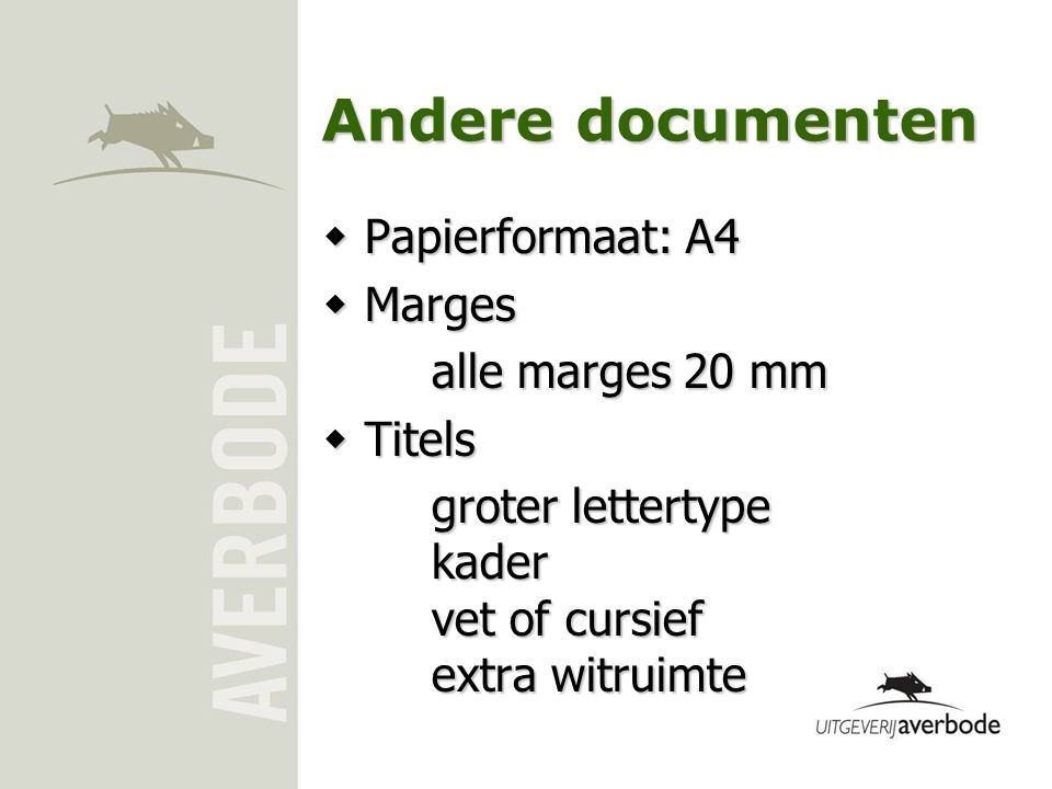 Andere documenten Papierformaat: A4 Marges alle marges 20 mm Titels