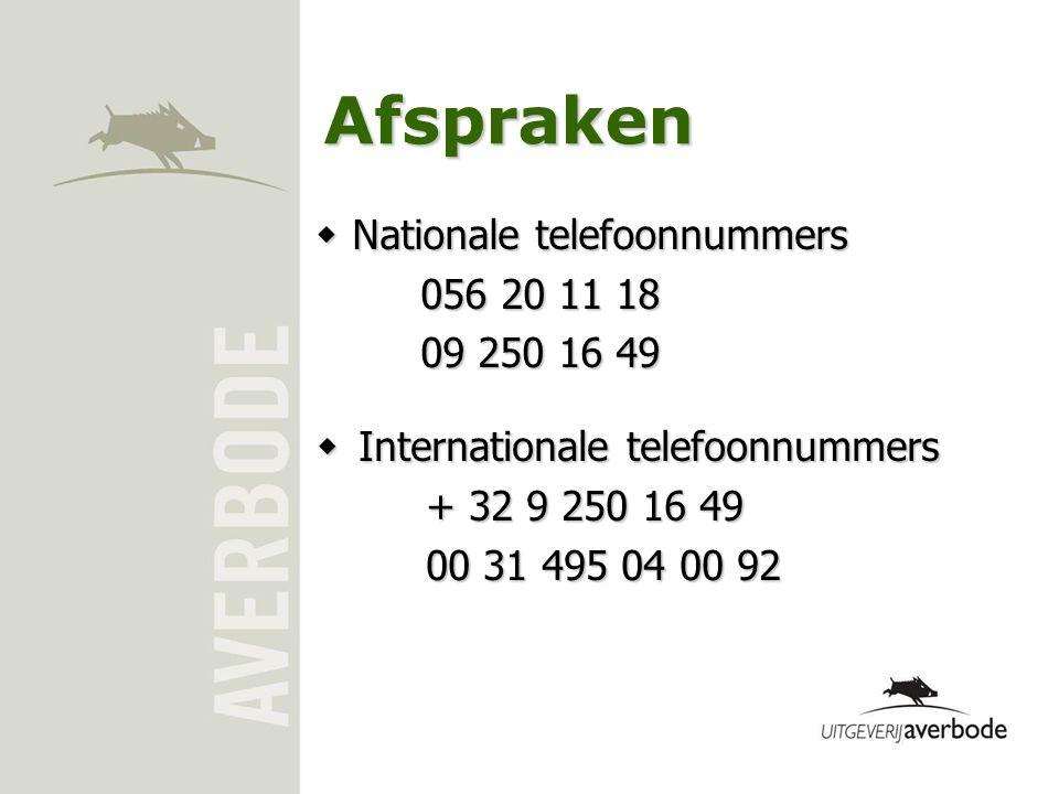 Afspraken Nationale telefoonnummers 056 20 11 18 09 250 16 49