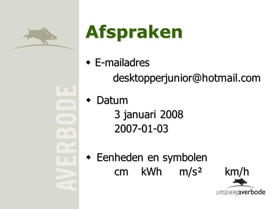 Afspraken E-mailadres desktopperjunior@hotmail.com Datum