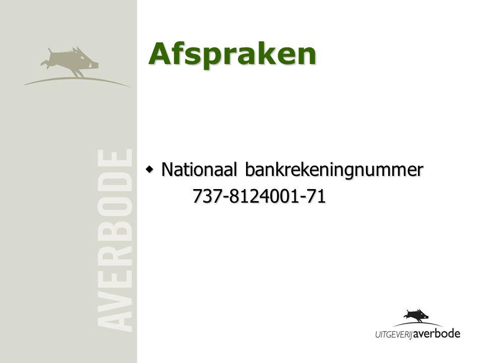 Afspraken Nationaal bankrekeningnummer 737-8124001-71