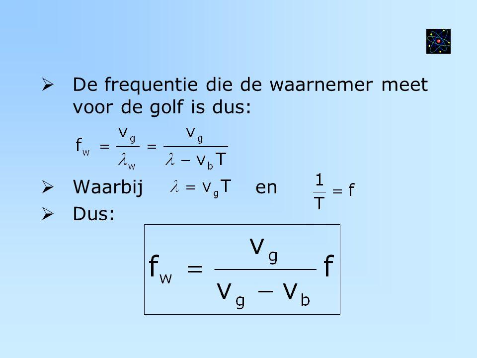 De frequentie die de waarnemer meet voor de golf is dus:
