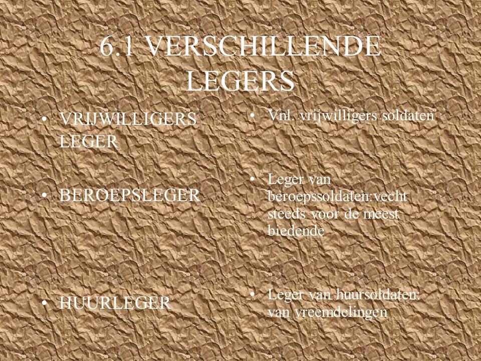 6.1 VERSCHILLENDE LEGERS VRIJWILLIGERS LEGER BEROEPSLEGER HUURLEGER