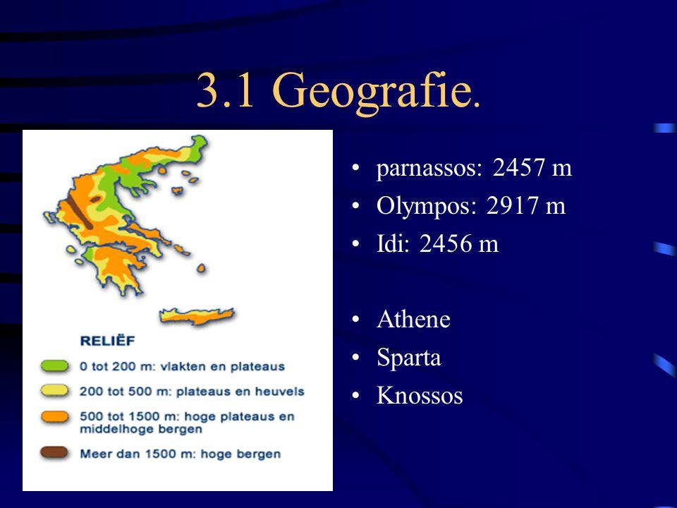 3.1 Geografie. parnassos: 2457 m Olympos: 2917 m Idi: 2456 m Athene