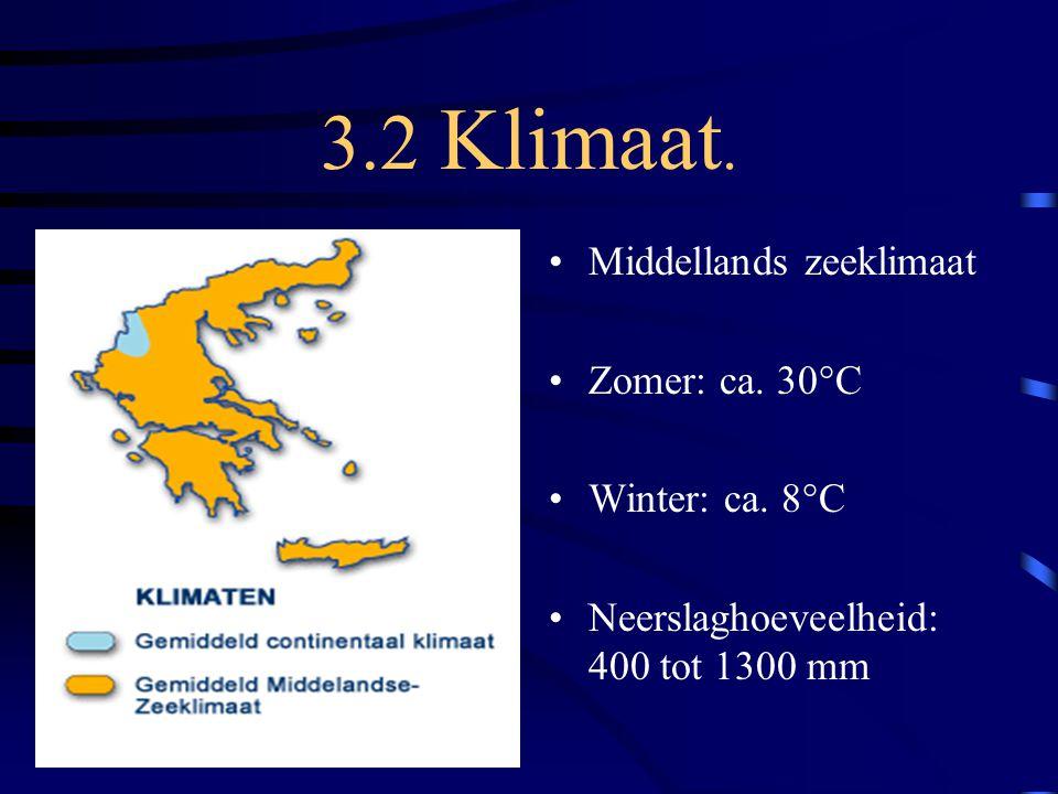 3.2 Klimaat. Middellands zeeklimaat Zomer: ca. 30°C Winter: ca. 8°C