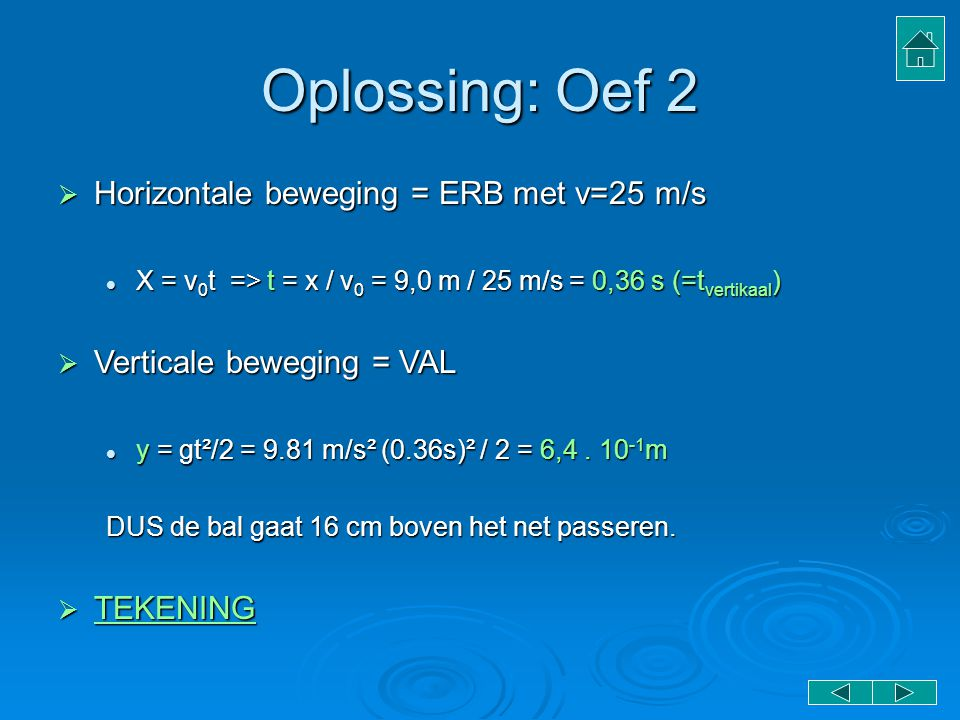 Oplossing: Oef 2 Horizontale beweging = ERB met v=25 m/s