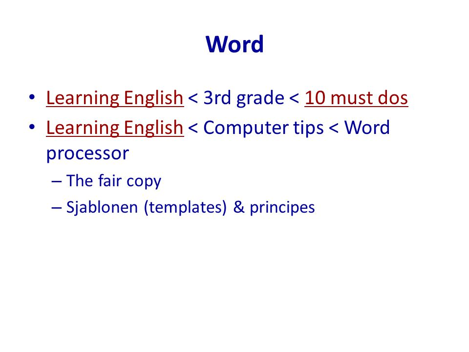 Word Learning English < 3rd grade < 10 must dos