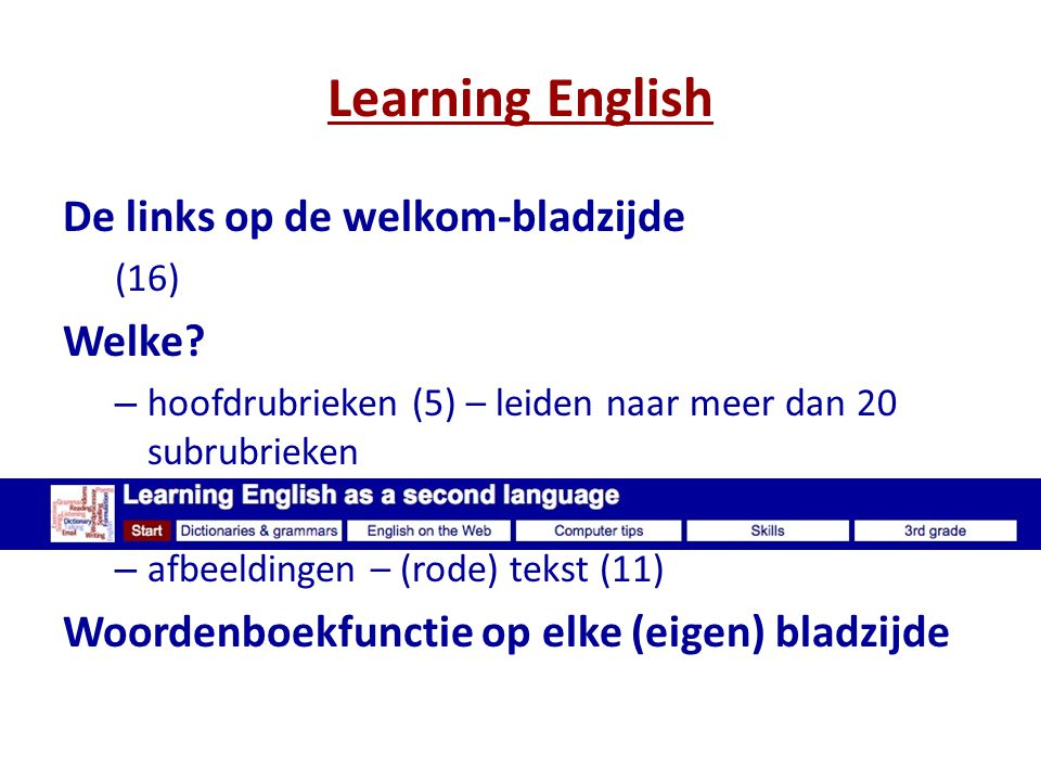 Learning English De links op de welkom-bladzijde Welke