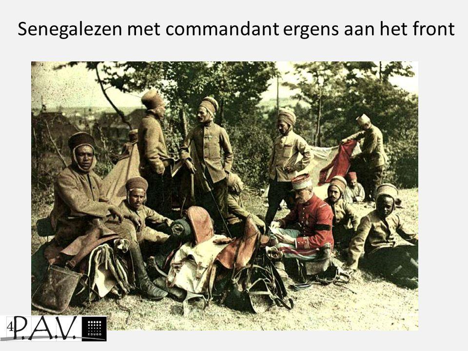 Senegalezen met commandant ergens aan het front