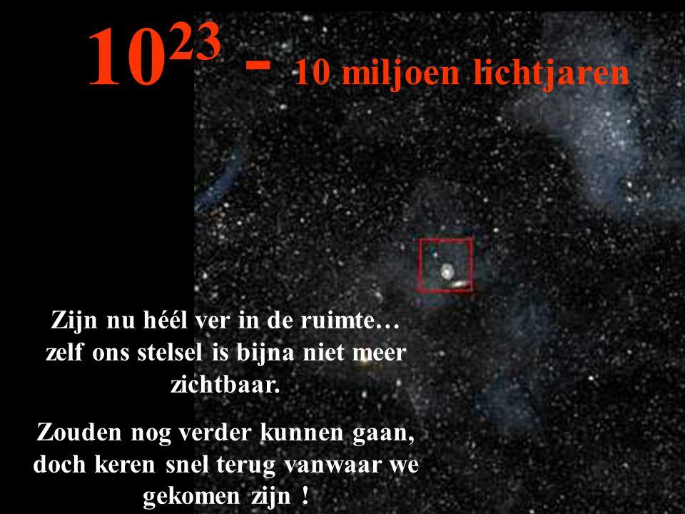 1023 - 10 miljoen lichtjaren Zijn nu héél ver in de ruimte… zelf ons stelsel is bijna niet meer zichtbaar.