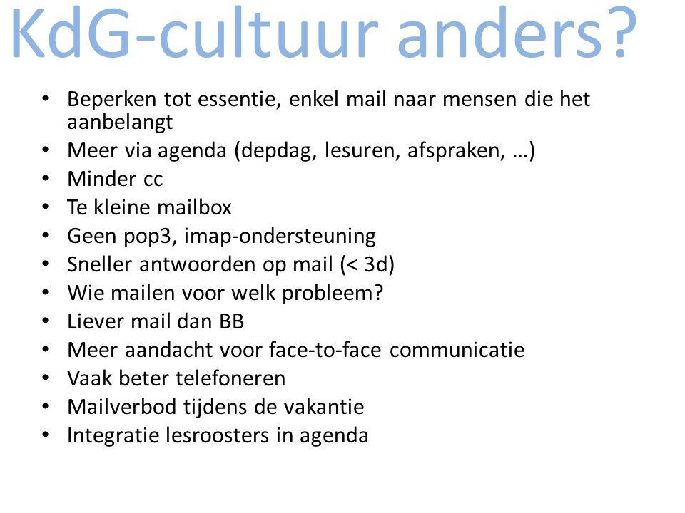 KdG-cultuur anders Beperken tot essentie, enkel mail naar mensen die het aanbelangt. Meer via agenda (depdag, lesuren, afspraken, …)