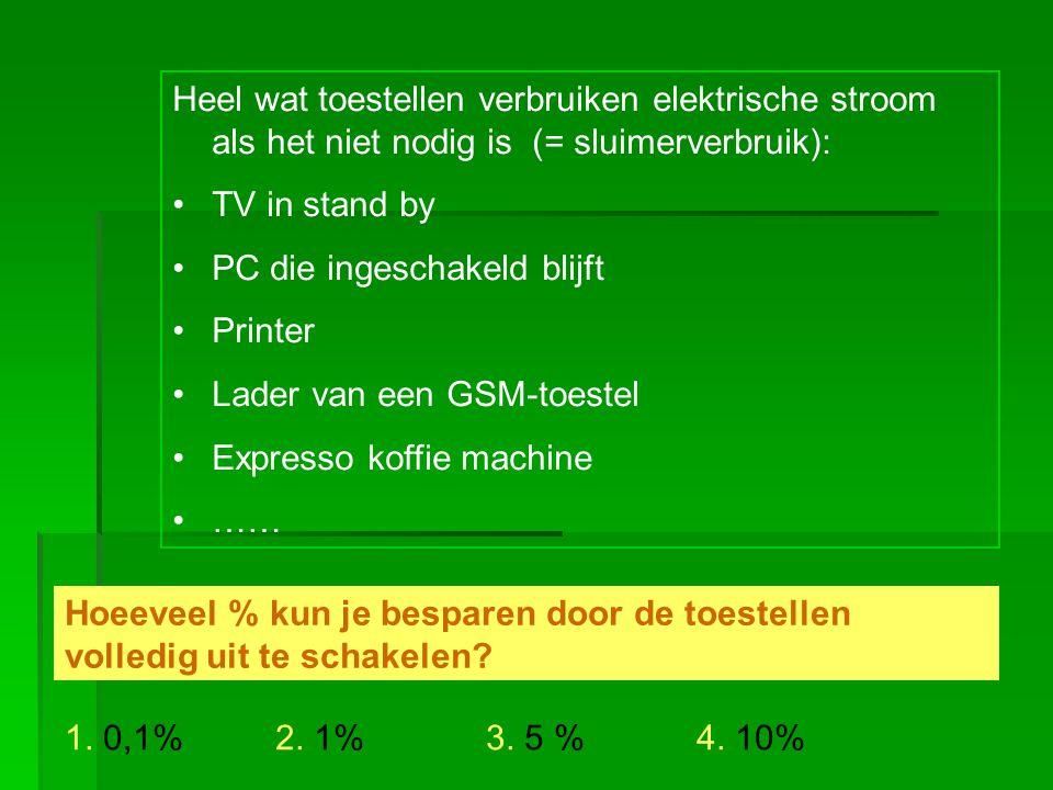 Heel wat toestellen verbruiken elektrische stroom als het niet nodig is (= sluimerverbruik):
