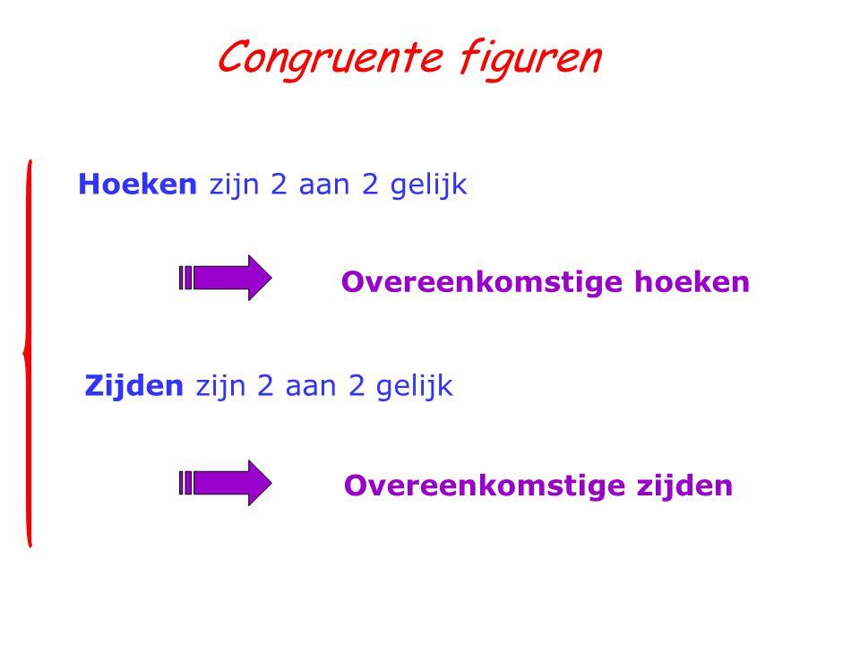 Congruente figuren Hoeken zijn 2 aan 2 gelijk Overeenkomstige hoeken