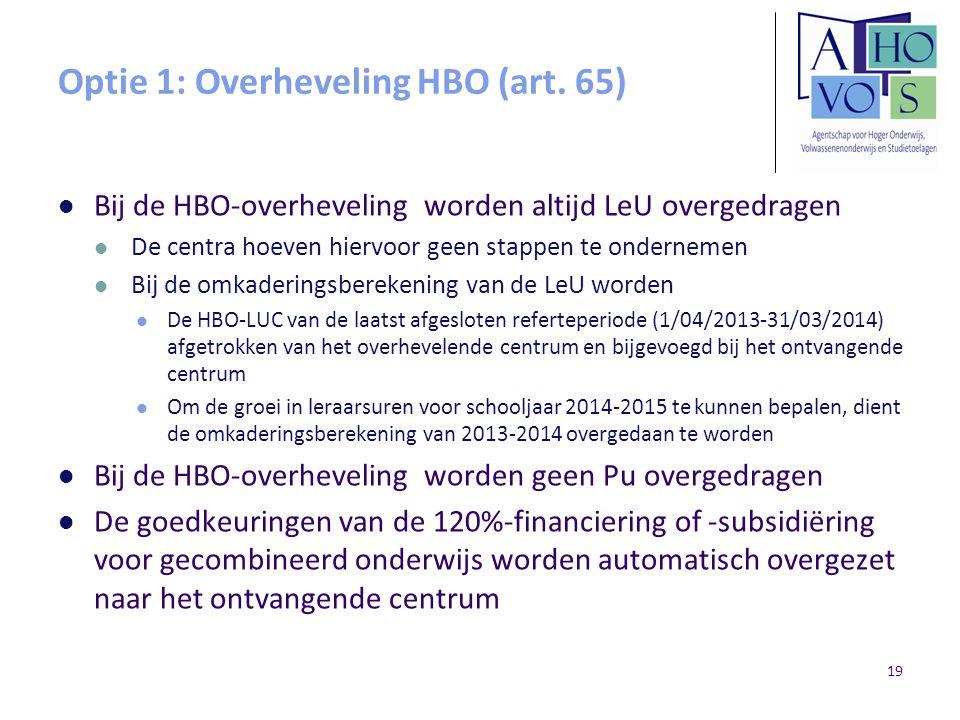 Optie 1: Overheveling HBO (art. 65)