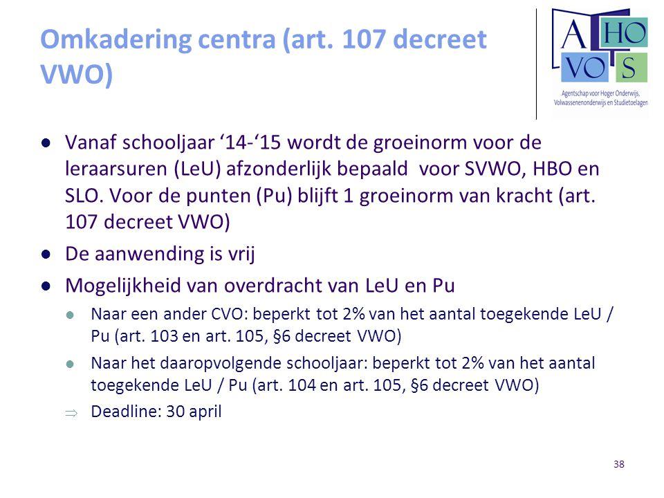 Omkadering centra (art. 107 decreet VWO)
