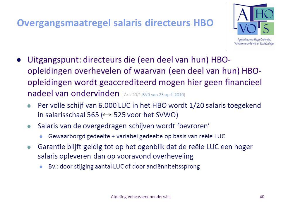 Overgangsmaatregel salaris directeurs HBO