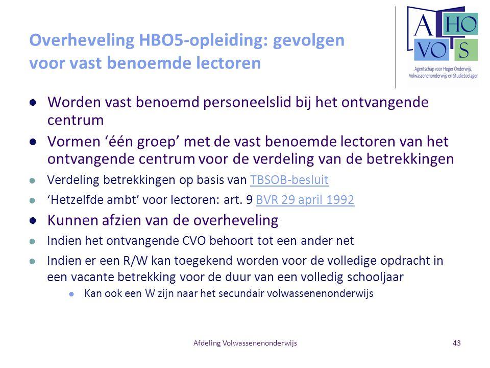 Overheveling HBO5-opleiding: gevolgen voor vast benoemde lectoren
