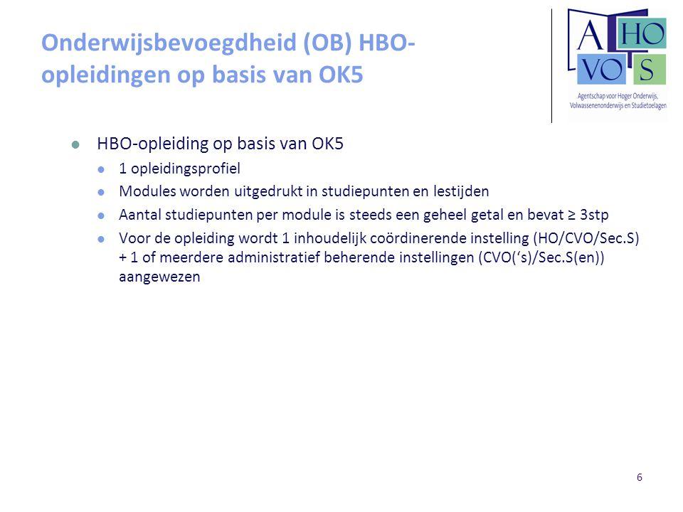 Onderwijsbevoegdheid (OB) HBO-opleidingen op basis van OK5