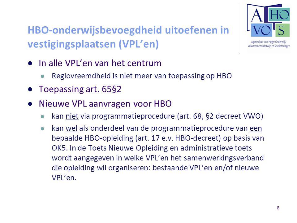 HBO-onderwijsbevoegdheid uitoefenen in vestigingsplaatsen (VPL'en)