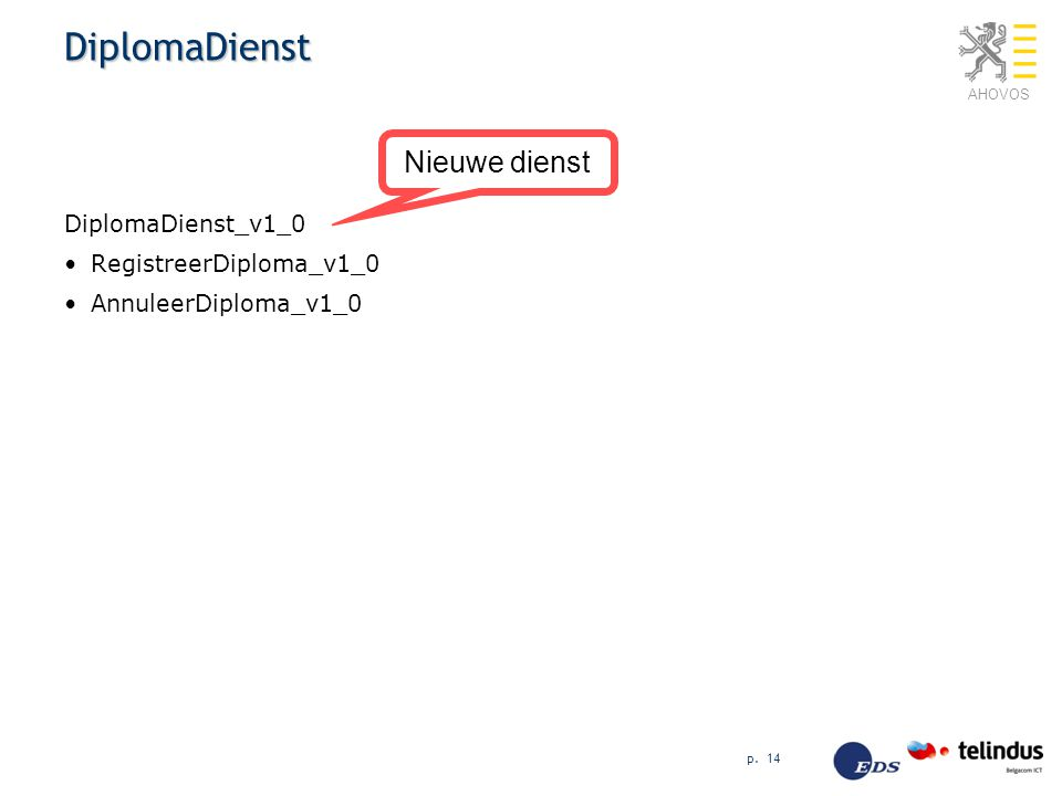 DiplomaDienst Nieuwe dienst DiplomaDienst_v1_0 RegistreerDiploma_v1_0