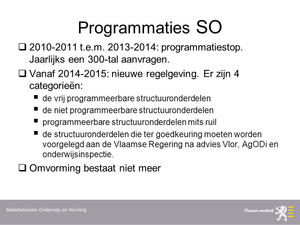Programmaties SO 2010-2011 t.e.m. 2013-2014: programmatiestop. Jaarlijks een 300-tal aanvragen.
