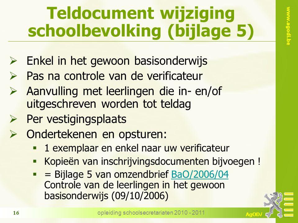 Teldocument wijziging schoolbevolking (bijlage 5)