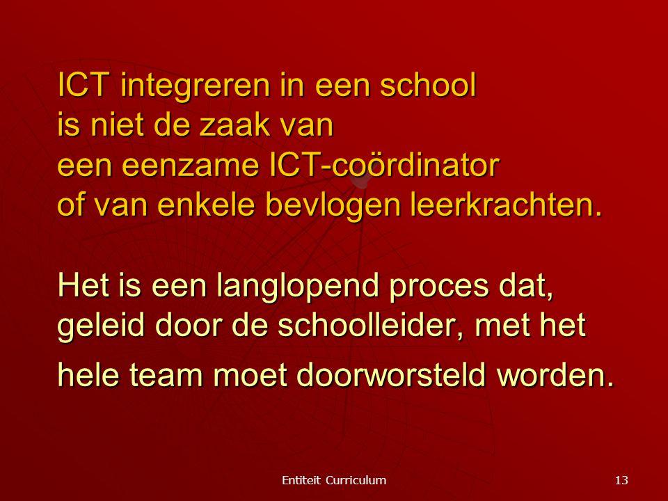 ICT integreren in een school is niet de zaak van een eenzame ICT-coördinator of van enkele bevlogen leerkrachten. Het is een langlopend proces dat, geleid door de schoolleider, met het hele team moet doorworsteld worden.