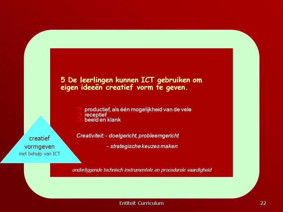 5 De leerlingen kunnen ICT gebruiken om eigen ideeën creatief vorm te geven.
