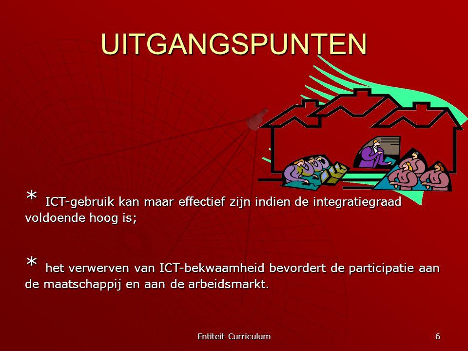UITGANGSPUNTEN * ICT-gebruik kan maar effectief zijn indien de integratiegraad voldoende hoog is;