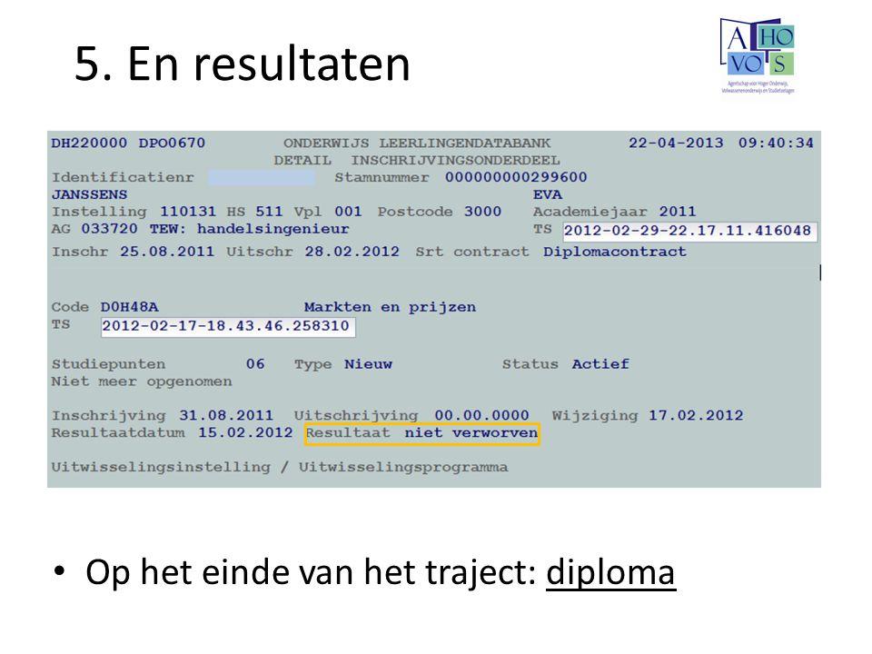 5. En resultaten Op het einde van het traject: diploma