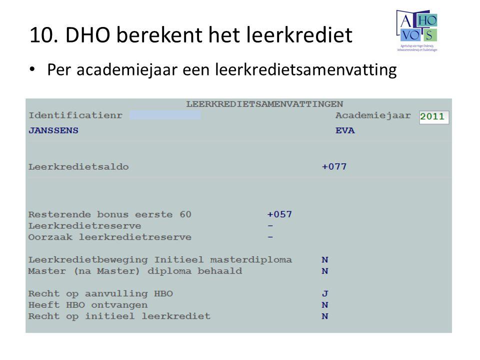 10. DHO berekent het leerkrediet