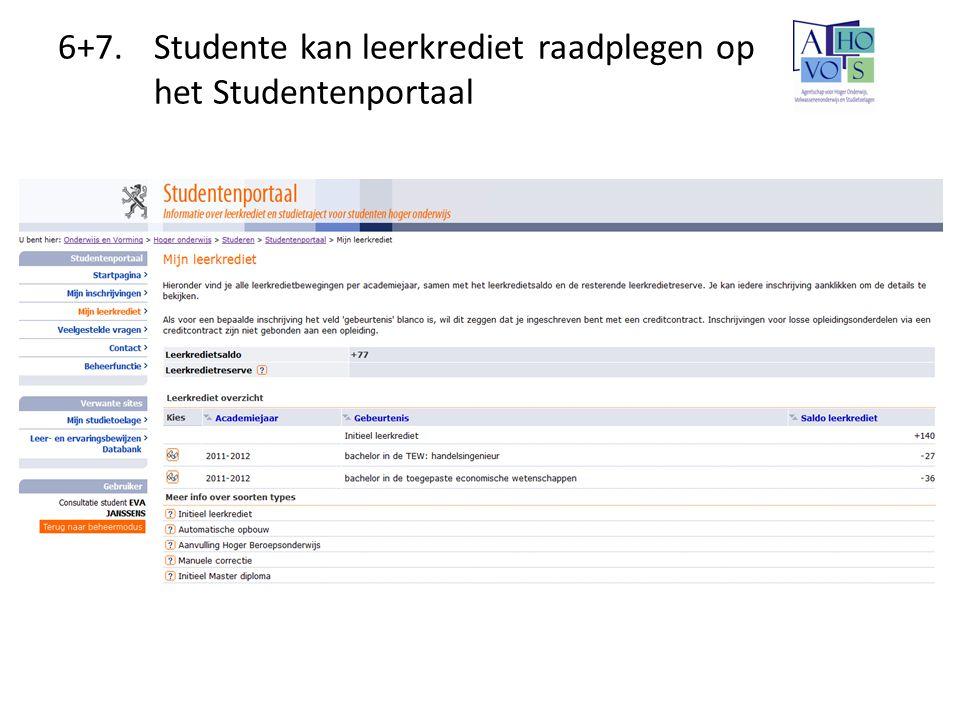 6+7. Studente kan leerkrediet raadplegen op het Studentenportaal