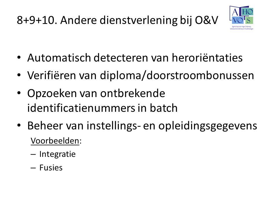 8+9+10. Andere dienstverlening bij O&V