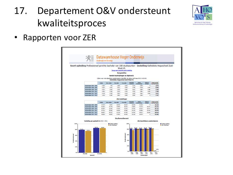 17. Departement O&V ondersteunt kwaliteitsproces