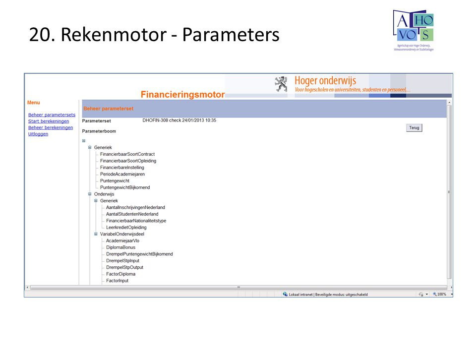 20. Rekenmotor - Parameters