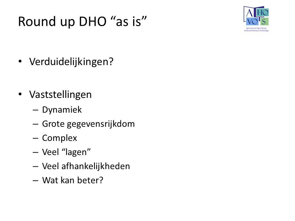 Round up DHO as is Verduidelijkingen Vaststellingen Dynamiek