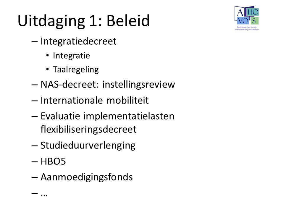 Uitdaging 1: Beleid Integratiedecreet NAS-decreet: instellingsreview