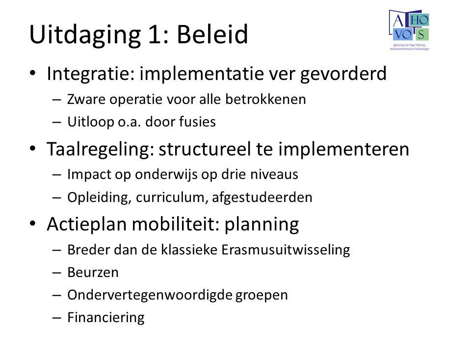 Uitdaging 1: Beleid Integratie: implementatie ver gevorderd